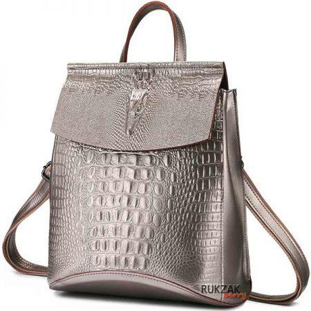 серебряный кожаный рюкзак