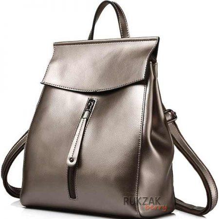 серебряный женский рюкзак