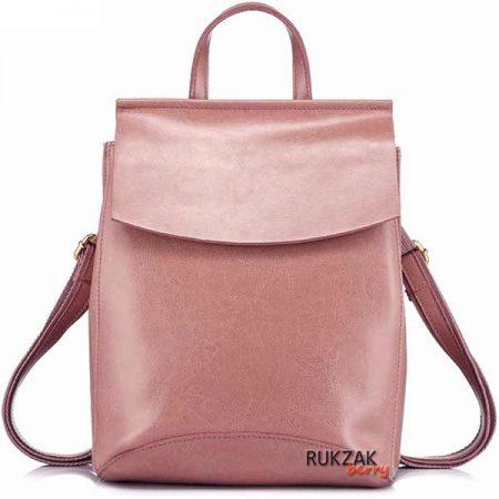 пудровый кожаный рюкзак