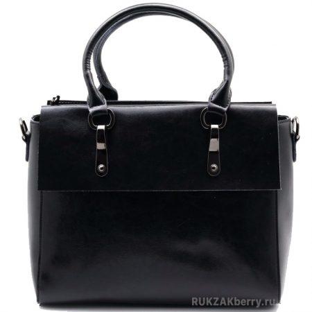 фото модная сумка кожаная тоут средняя черная Моника