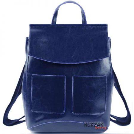 синий кожаный женский рюкзак