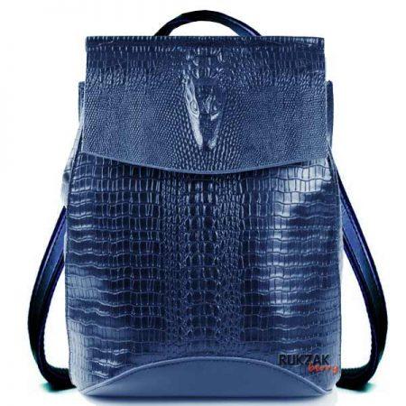 синий кожаный рюкзак