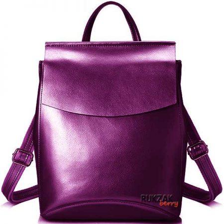пурпурный кожаный рюкзак