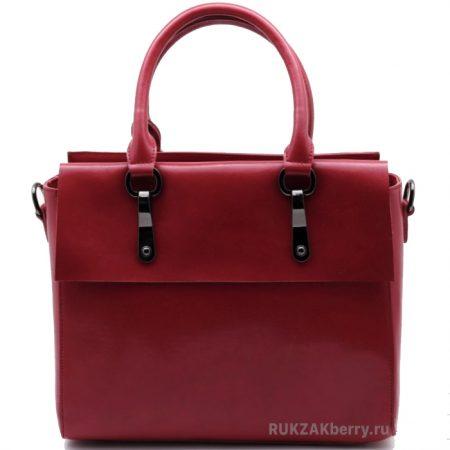 фото модная сумка кожаная тоут средняя красная Моника