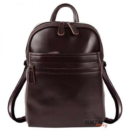 коричневый женский кожаный рюкзак