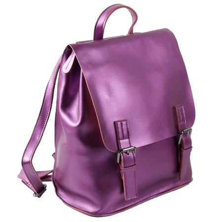 сиреневый кожаный рюкзак