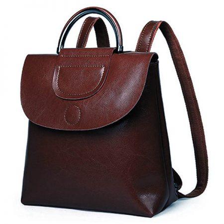 фото коричневый кожаный рюкзак трансформер Молли