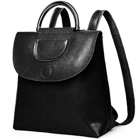 фото черный кожаный рюкзак трансформер Молли