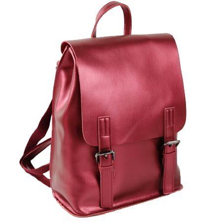 красный кожаный рюкзак