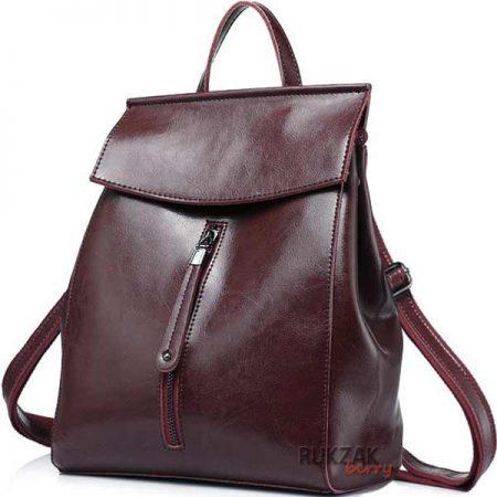 коричневый кожаный женский рюкзак