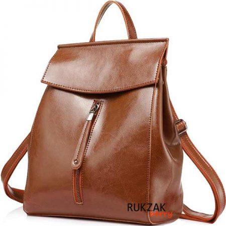 рыжий кожаный женский рюкзак
