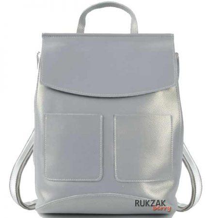 серо голубой кожаный рюкзак