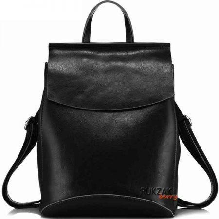 черный кожаный женский рюкзак
