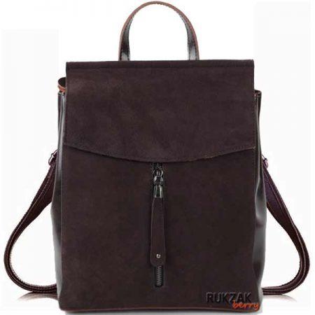 коричневый рюкзак из замши