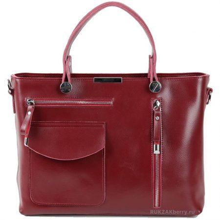 фото модная сумка кожаная тоут средняя красная Ирма