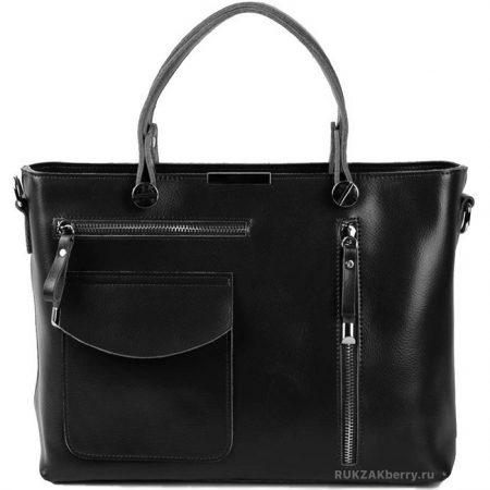фото модная сумка кожаная тоут средняя черная Ирма