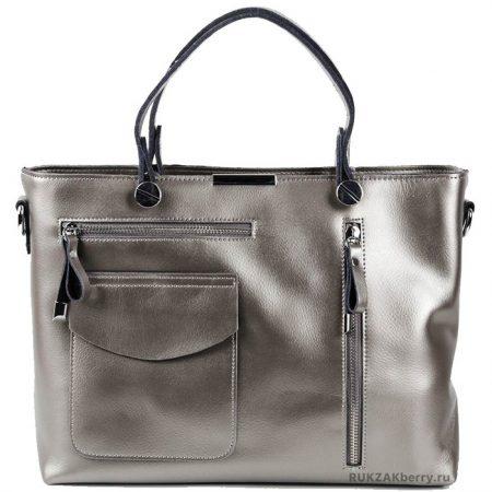 фото модная сумка кожаная тоут средняя серебряная Ирма