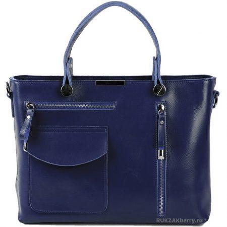 фото модная сумка кожаная тоут средняя синяя Ирма
