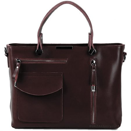 фото модная сумка кожаная тоут средняя коричневая Ирма