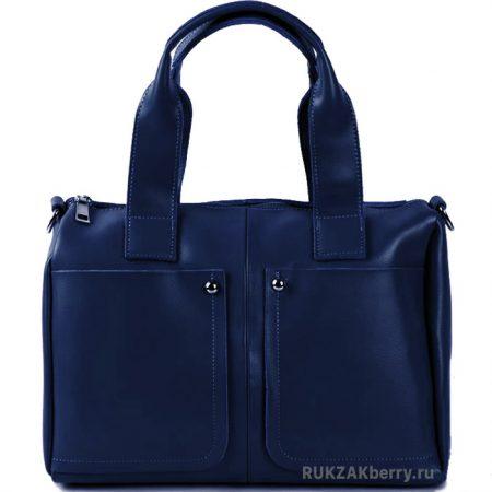 фото модная сумка кожаная синяя средняя Кейт
