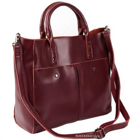 фото модная сумка кожаная красная тоут средняя Милена