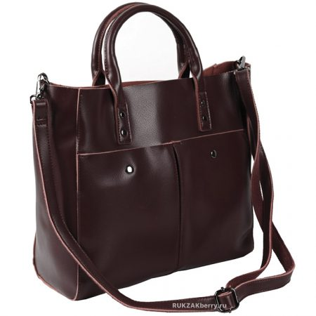 фото модная сумка кожаная коричневая тоут средняя Милена