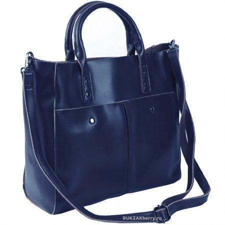 фото модная сумка кожаная синяя тоут средняя Милена