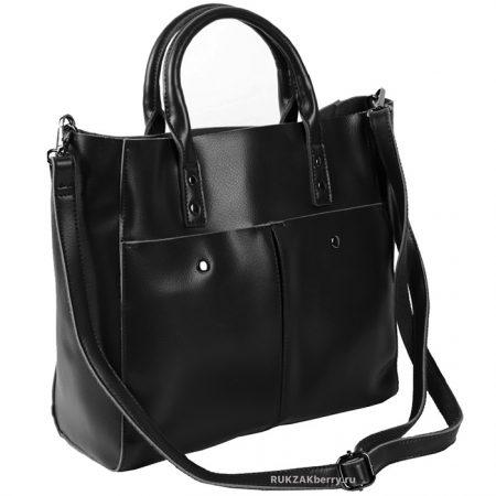 фото модная сумка кожаная черная тоут средняя Милена