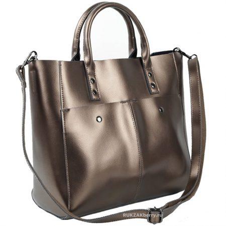 фото модная сумка кожаная золотая тоут средняя Милена