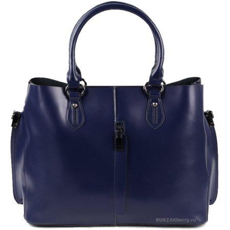 фото модная сумка кожаная синяя тоут средняя Мэри