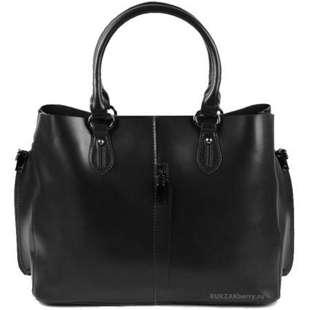 фото модная сумка кожаная черная тоут средняя Мэри