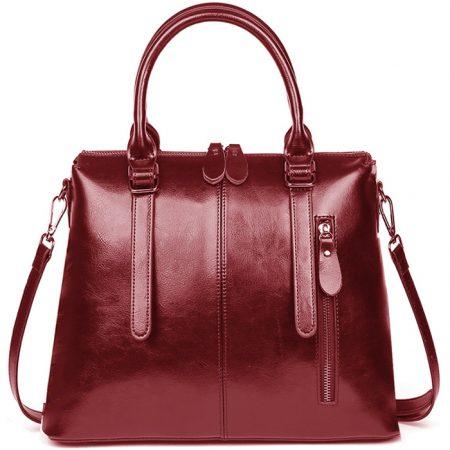 фото модная сумка кожаная красная тоут средняя Коди