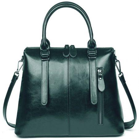 фото модная сумка кожаная зеленая тоут средняя Коди