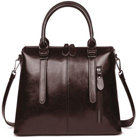 фото модная сумка кожаная коричневая тоут средняя Коди
