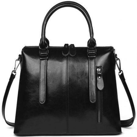 фото модная сумка кожаная черная тоут средняя Коди