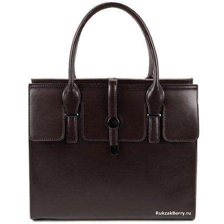 фото модная сумка кожаная средняя коричневая тоут Вильма