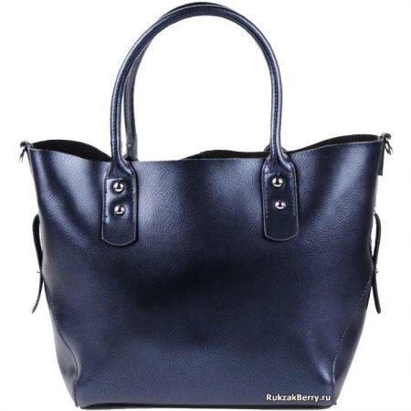 фото модная сумка кожаная средняя тоут синяя Таис