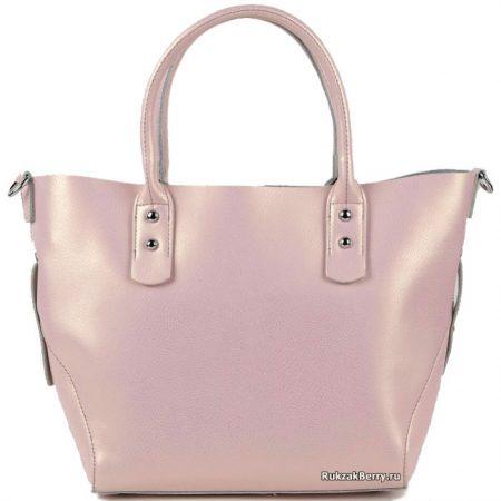фото модная сумка кожаная средняя тоут розовая пудра Таис