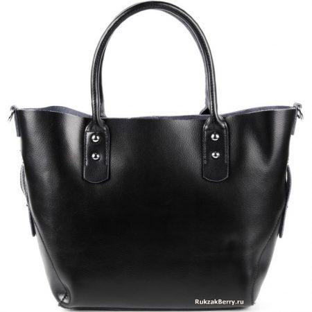 фото модная сумка кожаная средняя тоут черная Таис