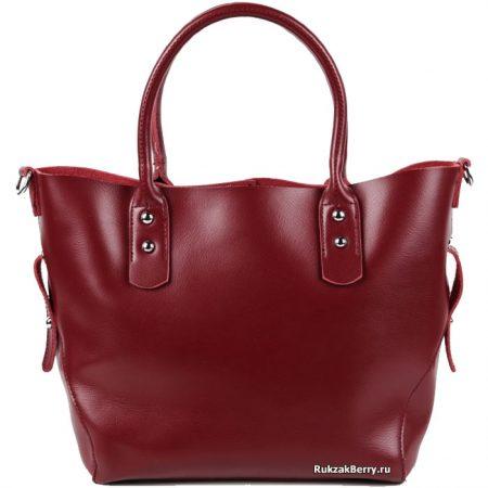 фото модная сумка кожаная средняя тоут красная Таис