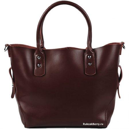 фото модная сумка кожаная средняя тоут коричневая Таис