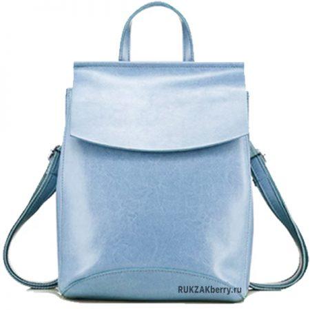 фото рюкзак кожаный женский голубой Классика