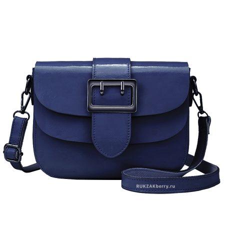 фото модная сумка кожаная синяя Лола