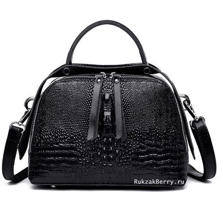 фото модная сумка кожаная под рептилию черная Кроки