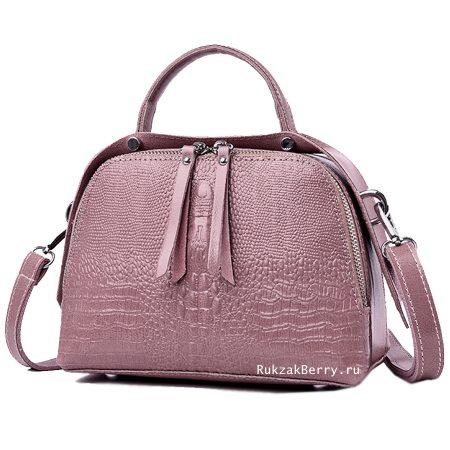 фото модная сумка кожаная под рептилию розовая Кроки