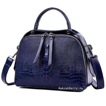 фото модная сумка кожаная под рептилию синяя Кроки