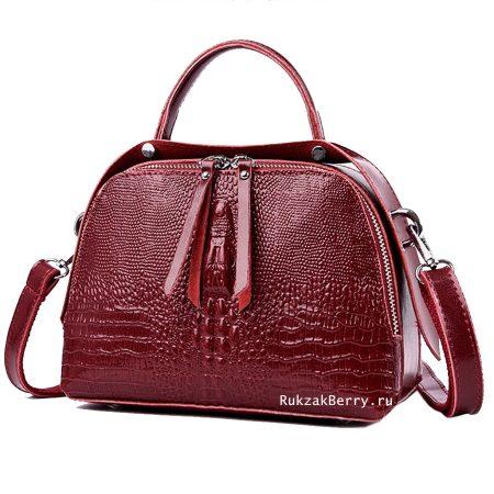 фото модная сумка кожаная под рептилию красная Кроки