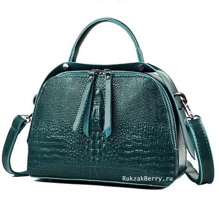 фото модная сумка кожаная под рептилию зеленая Кроки