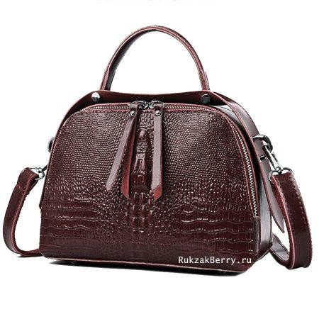 фото модная сумка кожаная под рептилию коричневая Кроки