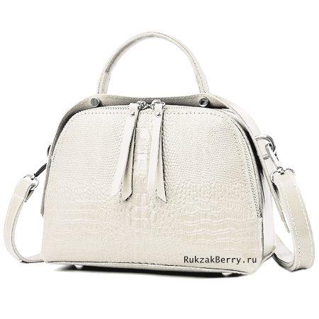 фото модная сумка кожаная под рептилию белая Кроки